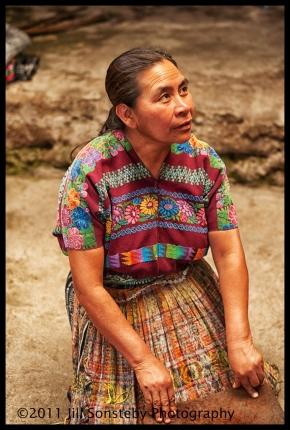 Mayan woman kneeling
