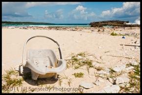 car seat on beach