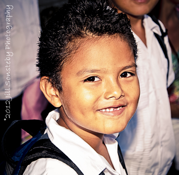 A little boy from public school in Utila, Honduras