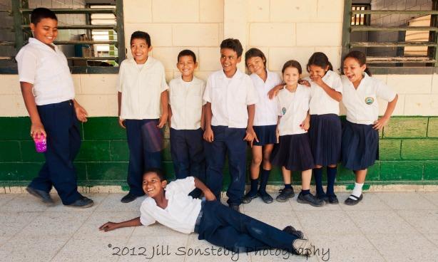 A group of 5th grade kids at the public school in Utila, Honduras