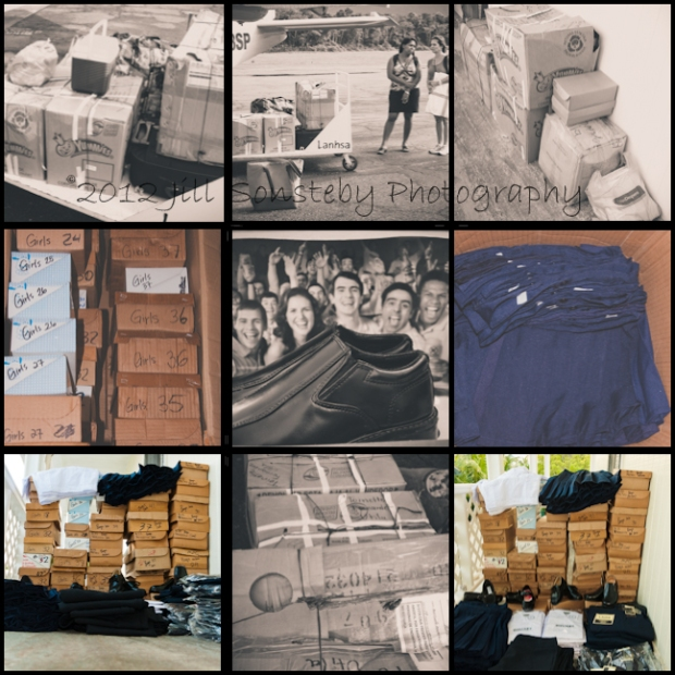 Multiple pictures of the uniforms for the public school children in boxes and displayed.