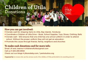 Poster for ways to get involved with Children of Utila