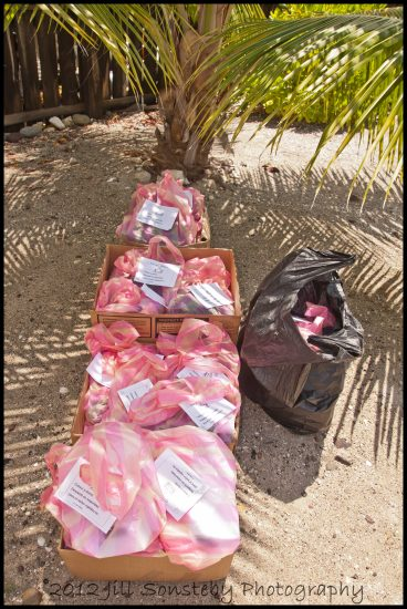 Our 1st order of uniforms bagged, name-tagged and boxed ready to haul up to the public school of Utila, Honduras.