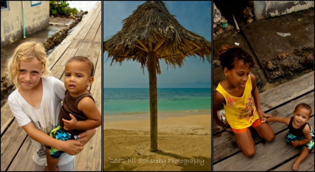 Little kids standing on the dock and a picture of a palm tree covering on the beach in Utila, Honduras.