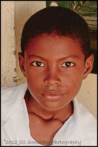 A young boy at the public school, CEBRH, in Utila, Honduras.