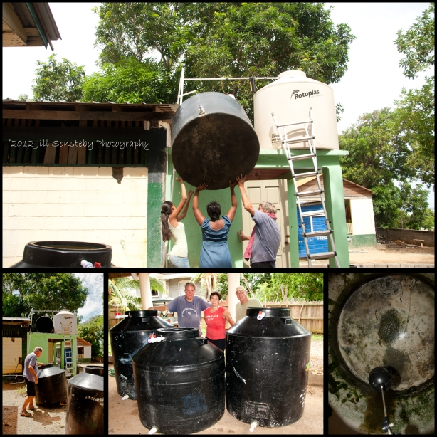 (TOP) Hoisting water cistern atop of roof, (BOTTOM LEFT) Removing 3 water cisterns from roof, (MIDDLE) Brent, me Roger cleaning/plumbing crew, (BOTTOM RIGHT) Inside of cistern before cleaning