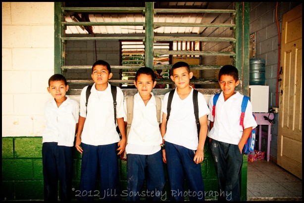 Boys at CEBRH standing outside of a classroom. Utila, Honduras