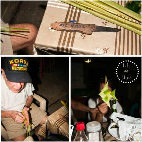 Doc Rail making me a bird, parrot fish and angel fish out of palm branch stems.