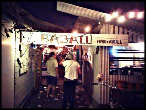 Entrance to Babalu restaurant on Utila.