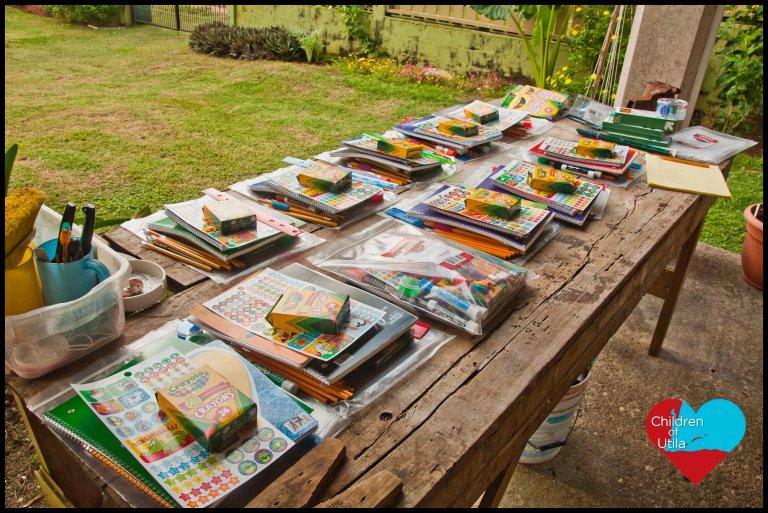 Donated school/teacher supplies for public school on the island Utila in Honduras, Central America
